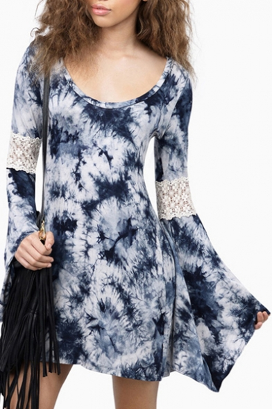 Fashion Scoop Neck Bell Long Sleeve Lace Patchwork Color Block Mini Dress