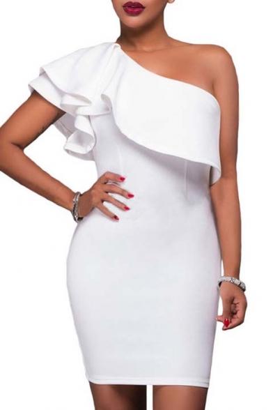 Sexy One Shoulder Asymmetric Ruffle Short Sleeve Plain Mini Bodycon Dress