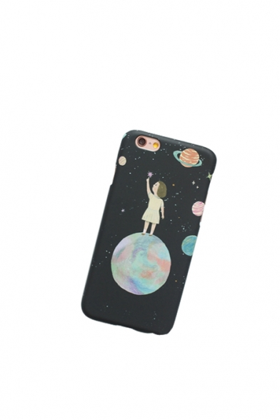 Trendy Galaxy Cartoon Girl Print iPhone Case