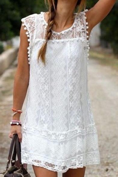 Women's Round Neck Short Sleeve Pom Pom Hem Lace Patched Shift Mini Dress
