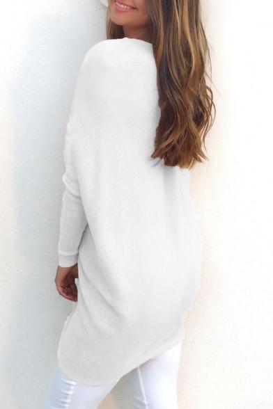 Elegant V-Neck Long Sleeve Plain Tunic Pullover Sweater