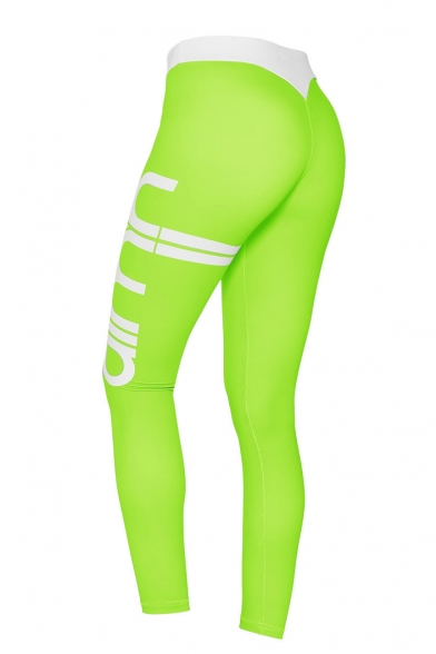 Fashion Contrast Waist Letter Printed Side Skinny Sport Pants