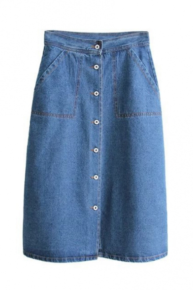 High Waist Single Breasted Plain Denim Skirt with Two Pockets ...