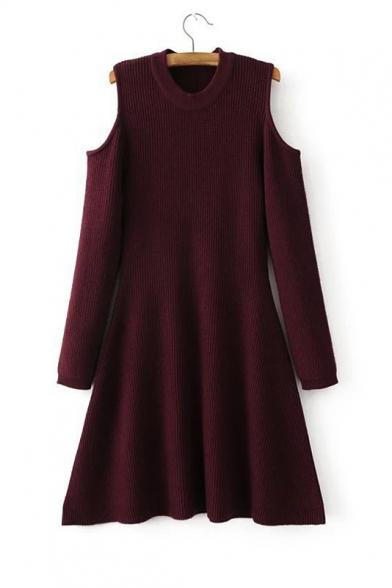 Women's New Fashion Round Neck Long Sleeve Cold Shoulder Plain A-Line Mini Dress