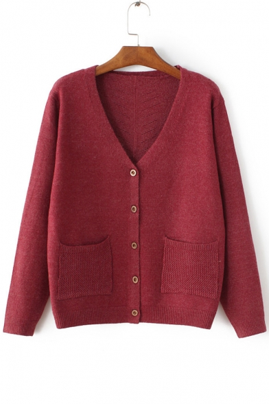 Women's V-Neck Long Sleeve Buttons Down Plain Knit Cardigan with ...