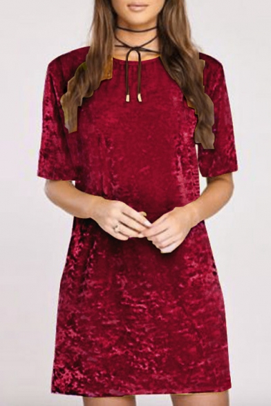 Fashion Half Sleeve Round Neck Plain Velvet Mini A-Line Dress