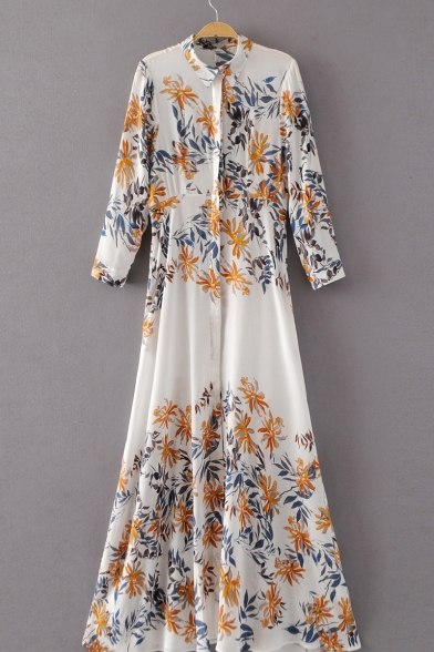 New Stylish Floral Printed Single Breasted Long Sleeve Maxi Shirt Dress