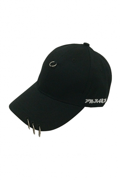 6b5fd00cecd79 Fashion Japanese Letter Pattern Outdoor Baseball Cap Embellished Metallic  Ring