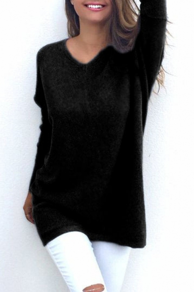 Elegant V-Neck Long Sleeve Plain Tunic Pullover Sweater
