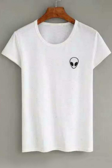New Fashion Alien Pattern Round Neck Short Sleeve Casual Tee