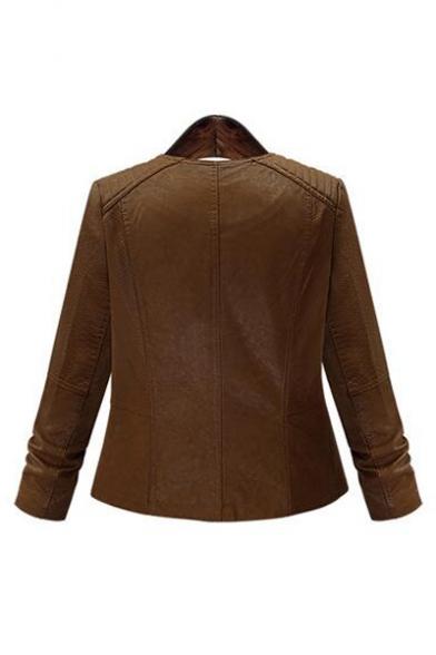 Chic Lapel Zipper Placket Long Sleeve Plain PU Jacket with Zip-Pockets