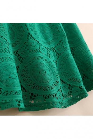 Swing Sleeve Elegant Lace Mini Plain Short Crochet Dress v1Y1Pw