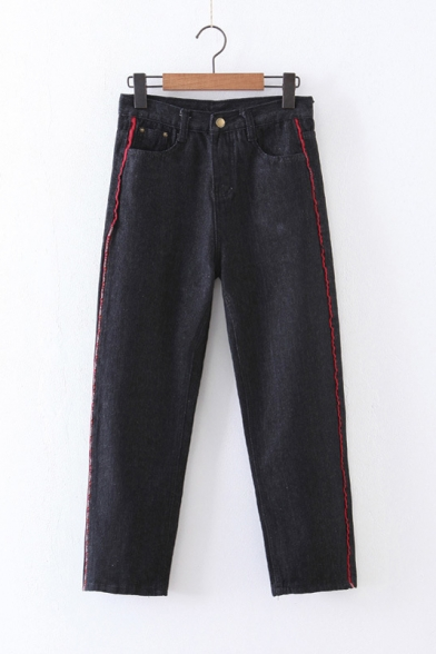 New Fashion Mid Rise Side Color Block Striped Patched Skinny Jeans