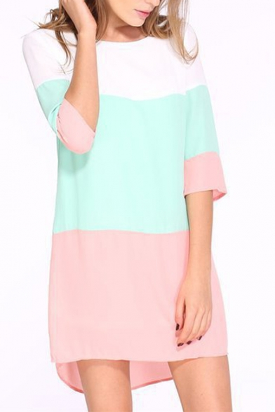 Chic Striped Color Block 3/4 Length Sleeve Round Neck Mini Shift Dress