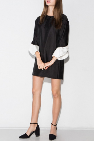 Contrast Split Bell 3/4 Length Sleeve Zip-Back Mini Dress with Bow Front