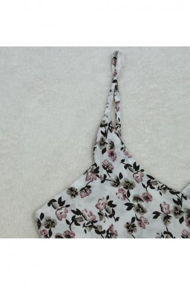 Hot Fashion Spaghetti Straps Floral Print Open Back Mini A-Line Slip Dress
