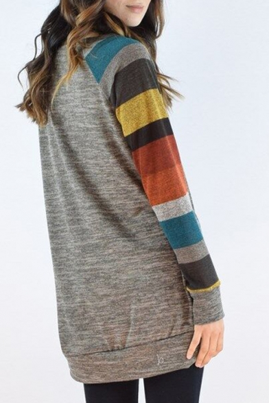 Trendy Striped Color Block Long Sleeve Round Neck Tunic Pullover Sweater