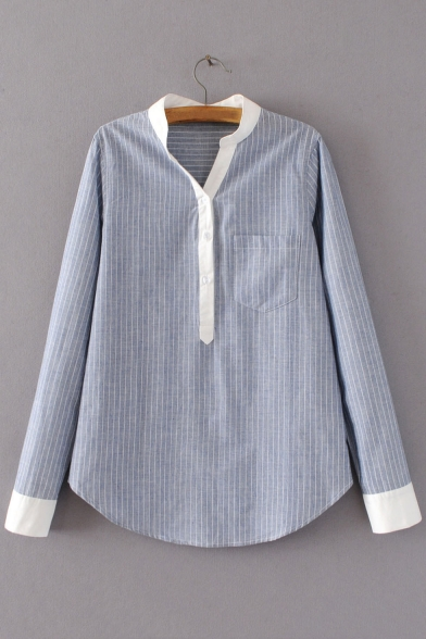 Contrast Stand-Up Collar and Cuffs Striped Long Sleeve Blouse with One Pocket