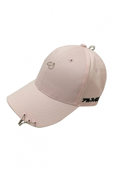 6586b917e1c3c ... Fashion Japanese Letter Pattern Outdoor Baseball Cap Embellished  Metallic Ring