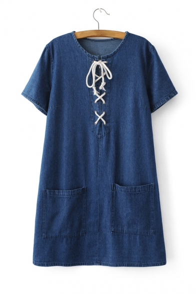 New Fashion Hollow Drawstring Front Short Sleeve Round Neck Zip Side Denim Dress with Pockets
