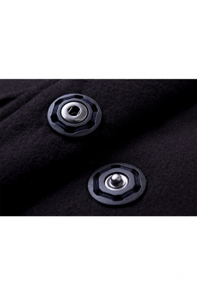 Oversized Notched Lapel Single Breasted Long Sleeve Plain Tunic Coat