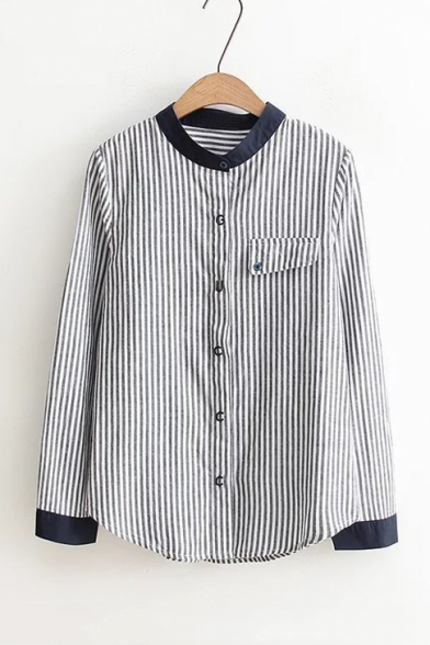 Vertical Striped Single Breasted Contrast Trim Color Block Shirt