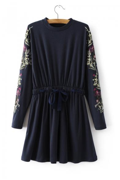 4bac13b3ef Embroidery Floral Long Sleeve Elastic Waist Round Neck Mini T-Shirt Dress