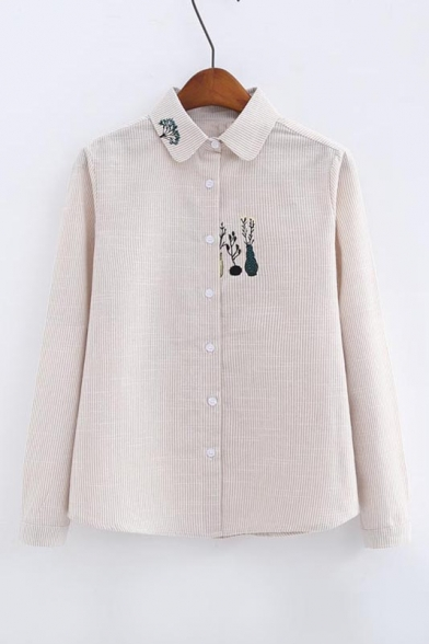 779fa96b Girls' New Style Embroidery Lapel Collar Long Sleeve Striped Print Buttons  Down Shirt ...