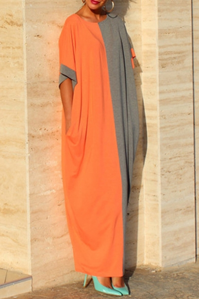 Loose Color Block Short Sleeve Round Neck Maxi T-Shirt Dress