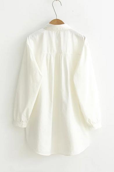 e9b9e94598d ... Lovely Cat Embroidery Lapel Collar Long Sleeve Asymmetrical Hem Buttons  Down Tunic Shirt ...