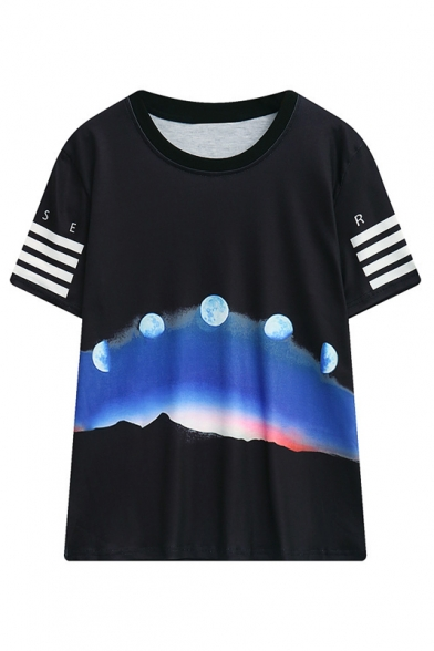 Round Neck Short Sleeve the Moon Print Casual Loose T-Shirt