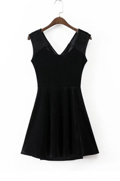 V-Neck Crisscross Open Back Sleeveless Plain A-Line Mini Velvet Tank Dress