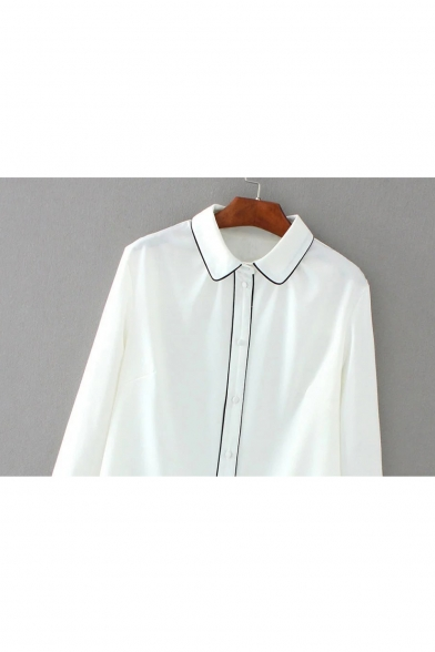 Lapel Collar Long Sleeve Color Block Buttons Down Chiffon Shirt