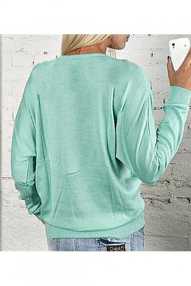 New Stylish Zipper Front V-Neck Long Sleeve Plain Zip Up Pullover Sweatshirt