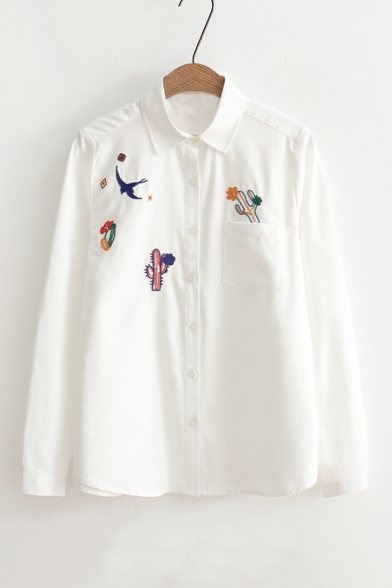 58ddf8d7f23 Women's Lapel Collar Long Sleeve Cactus Embroidery Buttons Down Casual Shirt  ...