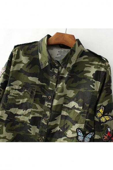 Embroidery Butterfly Camouflage Color Block Single Breasted High Low Hem Shirt
