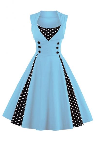 Retro Stylish Scoop Neck Sleeveless Polka Dots Midi Fit & Flare Dress with Button Embellished