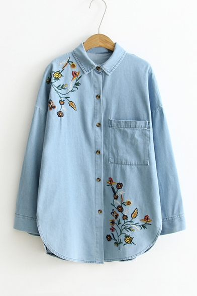 Embroidery Floral Pattern Single Breasted Batwing Sleeve Lapel Denim