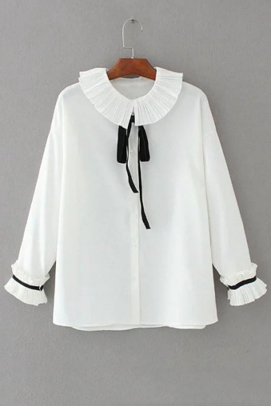 90e259642 Girls' Lovely Peter-Pan Collar Bow Tie Front Long Sleeve Buttons Down Shirt