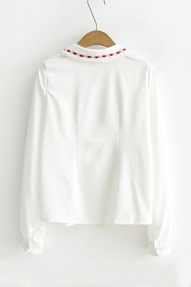 bba9c3fb4 ... New Arrival Girls' Floral Trim Patched Peter-Pan Collar Long Sleeve  Shirt ...