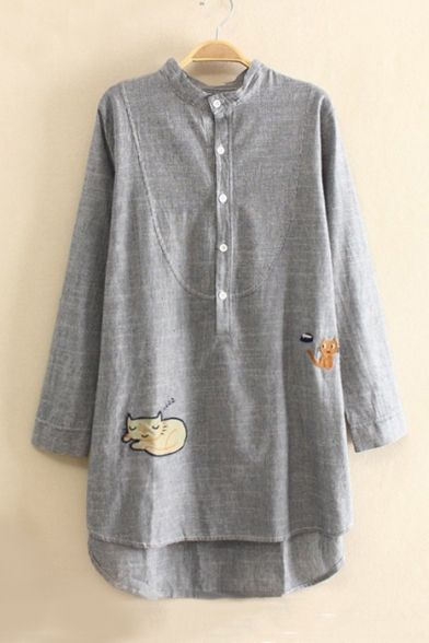 Cute Animal Embroidered Stand-Up Collar Long Sleeve Buttons Down High Low Hem Blouse