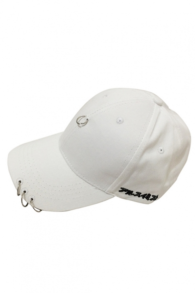 5bdccd7f8e070 ... Fashion Japanese Letter Pattern Outdoor Baseball Cap Embellished  Metallic Ring ...
