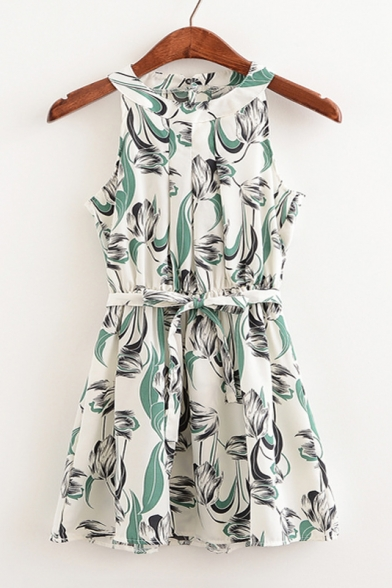 Floral Printed Color Block Sleeveless Round Neck Belt Waist Mini Summer Dress