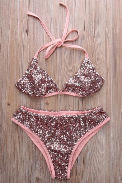Stylish Bikinis New Plunge V Sequined Halter Neck dYqYpF