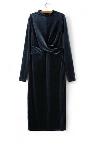 New Fashion Stand-Up Collar Long Sleeve Sashes Waist Bodycon Velvet Maxi Dress