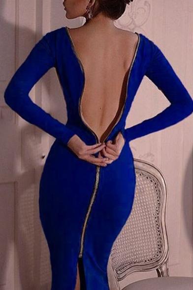 Sexy 3/4 Zip-Back Long Sleeve Boat Neck Plain Midi Sweater Dress