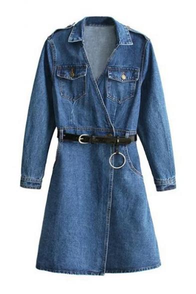 647c3a078b New Stylish Wrap Front Belt Waist Long Sleeve Lapel Mini Denim Dress with  Pockets ...