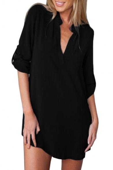 Chic Sexy Plunge V-Neck Long Sleeve Plain Tunic Blouse
