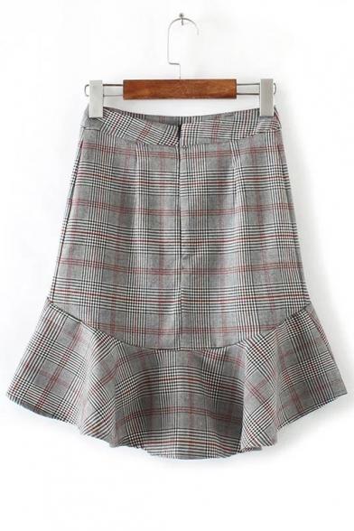 41054903c7 ... New Arrival Color Block Plaid Pattern Ruffle Trim Bodycon Mini Skirt ...