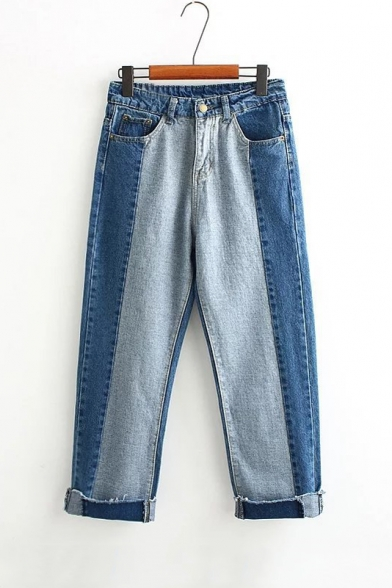 Color Block High Waist Straight Wide Leg Jeans
